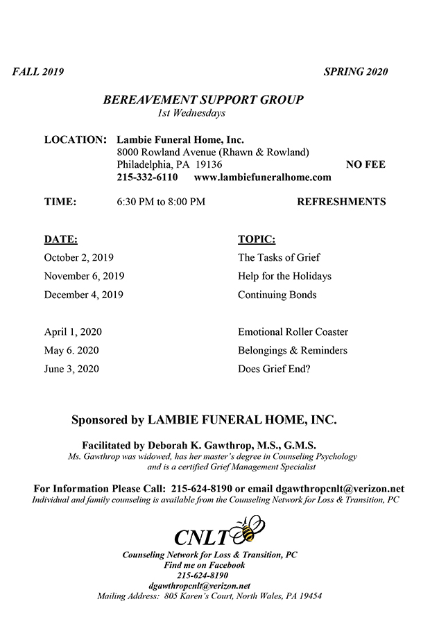 Lambie Funeral Home | Philadelphia, PA Funeral Home & Cremation